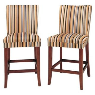 Sasha Upholstered Stripe Fabric Stool   24 (Set