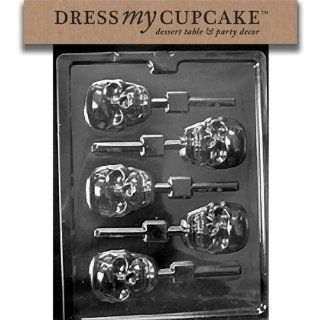 Dress My Cupcake DMCH121 Chocolate Candy Mold, Scary Skull Lollipop, Halloween: Kitchen & Dining