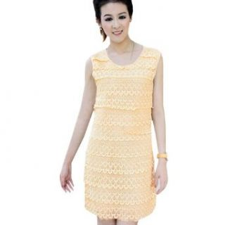 Zeagoo Women's Multi Layer Lace Sleeveless Round Neck Dress at  Women�s Clothing store