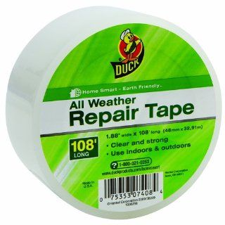 Duck Brand 1297501 All Weather Clear Poly Repair Tape for Window Insulation Sheeting, 1.88 Inch by 108 Feet, Single Roll   Weatherproofing Window Insulation Kits