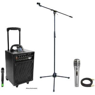 Pyle Speaker, Mic, Cable and Stand Package   PWMA930I 600 Watt VHF Wireless Portable PA Speaker System/Echo W/Ipod Dock   PDMIK1 Professional Moving Coil Dynamic Handheld Microphone   PMKS2 Tripod Microphone Stand w/Boom   PPMCL50 50ft. Symmetric Microphon