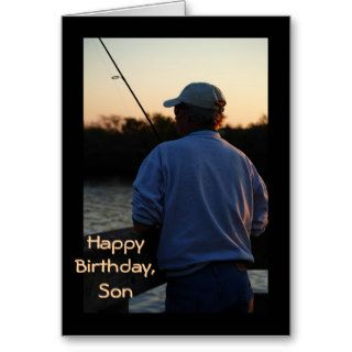 Happy Birthday Son, man fishing in sunset Greeting Cards