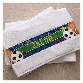 Personalized Boys Bath Towel   Sports  Baby Bath Towels  Baby