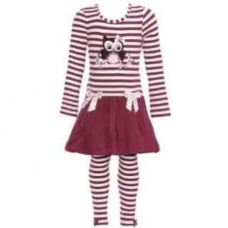 Bonnie Jean Girls Corduroy Owl Dress & Legging Outfit, Burgundy, 12M   24M Bonnie Jean Clothing