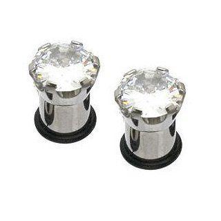 Large Rhinestone Silver Tone Stud Plugs (00 Gauge) Rhinestone Studded Stainless Steel Flesh Ear Plug (10 mm) Fashion Body Piercing (2pc)   Body Piercing Jewelry