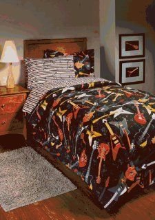 Rock Star Guitar Full Comforter Set (8 Piece Bed In A Bag)
