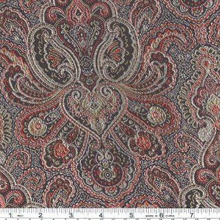 44'' Wide Oriental Brocade Fabric Paisley Black/Red By The Yard