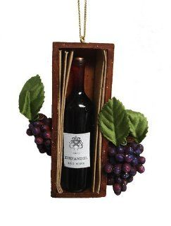 Tuscan Winery Red Wine Bottle In Box Christmas Ornament   Decorative Hanging Ornaments