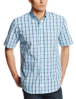 IZOD Men's Short Sleeve Saltwater Two Toned Gingham Button Down Woven at  Men�s Clothing store