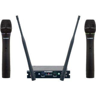 NUVOICE V280.1 Dual Channel VHF Wireless Microphone System Set 1 Musical Instruments