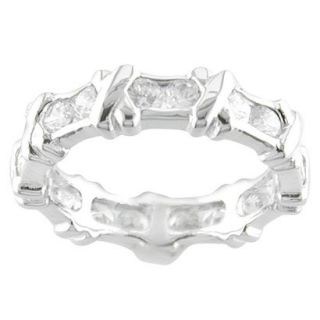 Silver Plated X Design CZ Ring Silver