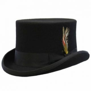 Luxury Divas Black Wool Top Hat With Satin Headband & Feather Costume Headwear And Hats Clothing