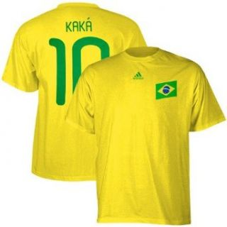 Kaka #10 Brazil Soccer adidas Yellow 2010 World Cup Name and Number T Shirt : Sports Fan T Shirts : Sports & Outdoors