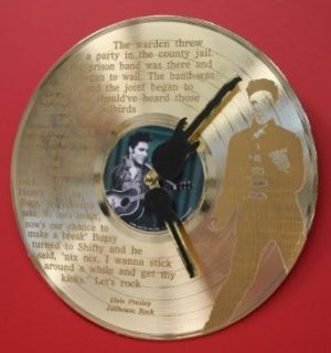 "Elvis Presley Gold LP Record Clock Laser Etched W/ Lyrics To ""Jailhouse Rock"": Entertainment Collectibles"