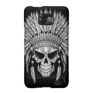 Dark Native Sugar Skull with Headdress Samsung Galaxy S2 Cases