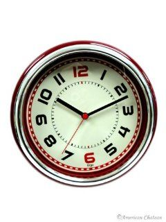 Shop Retro 50s 50's CONTEMPORARY BRIGHT Red Designer Kitchen Wall Clock DINER Decor at the  Home D�cor Store