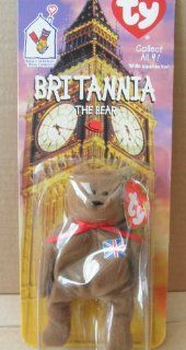 McDonalds Collectible TY Beanie Babies Britannia the Bear Stuffed Animal Plush Toy   Brown with Union Jack on Chest Toys & Games