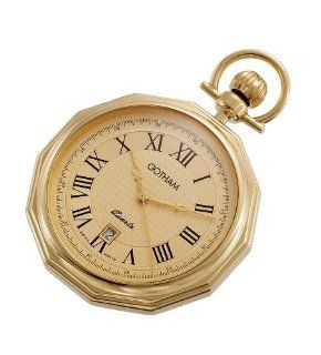 Gotham Men's Gold Tone Swiss Quartz Date Movement Pocket Watch # GWC14049G: Watches