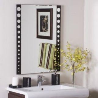 Decor Wonderland SSM179 Santa Clara   Frameless Wall Mirror, Black Finish with Etched Glass