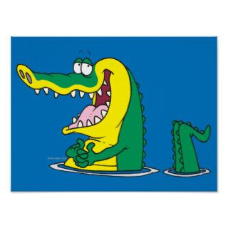 silly alligator crocodile cartoon character posters