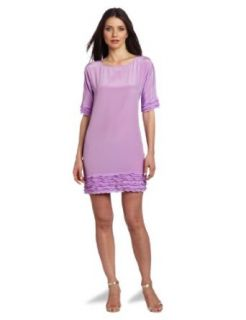 Donna Morgan Women's Boat Neck Elbow Sleeve Shift Dress with Ruffle Detail at  Women�s Clothing store