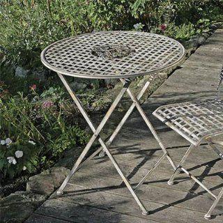 Runder Klapptisch TOSCANA Gartentisch antik aus Metall D70cm Metalltisch Eisentisch: Garten