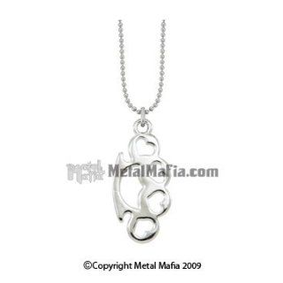 SILVER 1 INCH BRASS KNUCKLE NECKLACE WITH HEART SHAPED CUT OUTS: Clothing