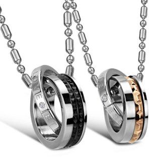 "JewelryWe New ""Eternal Love"" Stainless Steel Interlocking Double Rings Pendant Necklace Couples Jewelry Set (One Pair): Jewelry"