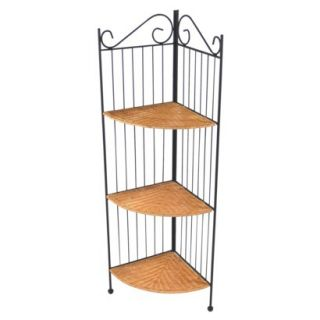 4D Concepts 3 Tier Corner Metal and Wicker Shelf