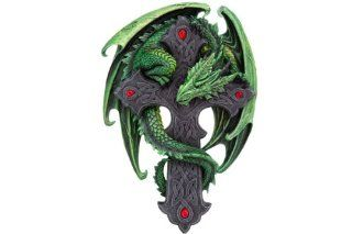 Woodland Guardian Plaque ~ Green Dragon Wrapped Around Celtic Cross Wall Hanging   Wall Sculptures