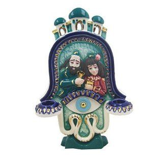 Jewish Ceramic Shabbat Sabbat Candle Holders Hamsa Lucky Hand Of God Design Hand Made In ISRAEL . Great Gift For Rosh Hashanah Sabbath Purim Sokot Simchat Torah Hanukkah Passover Lag Baomer Shavuot Rabbi Bridesmaid Temple Shul Chupah Wedding Housewarming