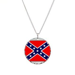 Necklace Circle Charm Rebel Confederate Flag HD: Pendant Necklaces: Jewelry