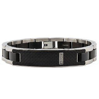 Titanium Men's ID Bracelet with Black Carbon Fiber Inlay 8.5 Inches: West Coast Jewelry: Jewelry