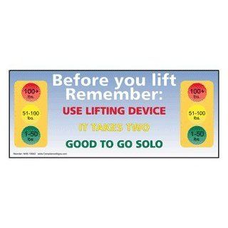 Safe Lifting Weight Limits Banner NHE 19962 Industrial Notices : Business And Store Signs : Office Products
