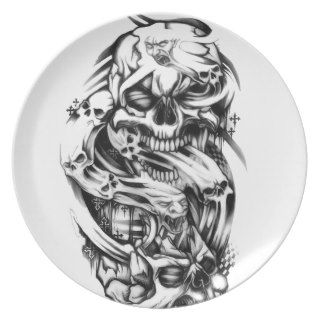 Evil skull tattoo style art. Sin and smoke skulls. Party Plates