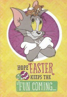 "(1) Greeting Card Easter Tom and Jerry ""Hope Easter Keeps the Fun Coming.."": Health & Personal Care"