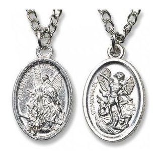 "Catholic Necklace Guardian Angel, St. Michael Devotional Medal with Chain, Material: Lead free Zinc Alloy Size: 1"" H, 20"" L. Michael the Archangel Is Known for Protection As Well As the Patron of Against Danger At Sea, Against Temptations, Ambula"