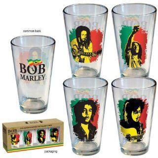 Bob Marley/Pint Glass Set Flag 4 Pack Beer Glasses Kitchen & Dining