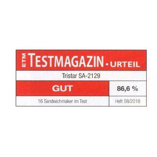 Tristar SA 2129 Sandwichtoaster schwarz Edelstahl 750 Watt: Küche & Haushalt