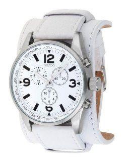 Oozoo XXL Herrenuhr mit Unterleg Lederband   C4745   Weiss Uhren