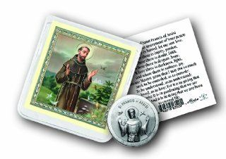 St Francis of Assisi San Francisco De Asis Patron St of Animals Pewter Coin in Clear Folder with Prayer: Health & Personal Care