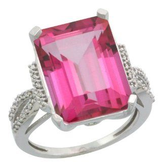Sterling Silver Diamond Natural Pink Topaz Ring Emerald cut 16x12mm, 3/4 inch wide, sizes 5 10: Jewelry