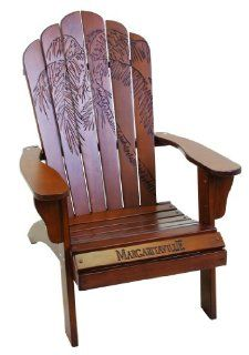"Margaritaville Wood Carved ""Palm Frond Cherry"" Adirondack Chair : Patio, Lawn & Garden"