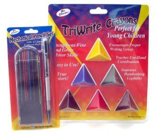 The Classics Crayon and Colored Pencil Artist Bundle, Six Triangular Grippable Crayons and Mechanical Pencil with Twelve Colored Leads, Assorted (TPG 299)