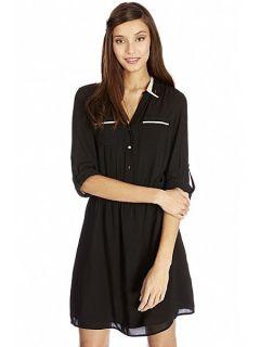 Oasis Viscose Colour block Shirt Dress Black