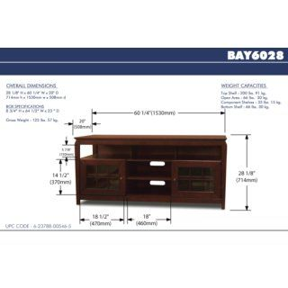 TechCraft BAY6028 60 Inch Wide Flat Panel TV Credenza   Walnut: Electronics