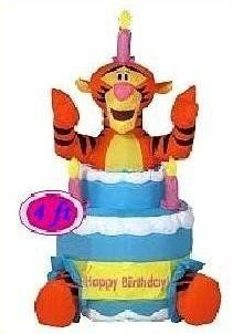 Disney Tigger and Birthday Cake 4 Foot Airblown Inflatable: Toys & Games