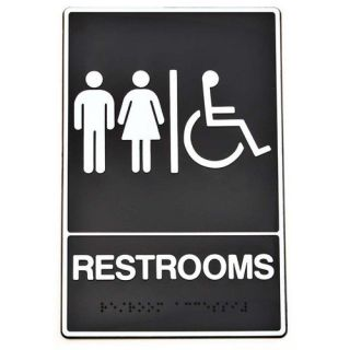 Hy Ko Braille Restroom Handicap Access Sign (Set of 3) Office