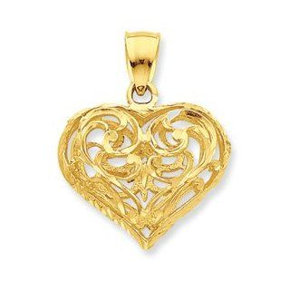 14k Gold Diamond Cut Open Filigree Heart Pendant: Jewelry