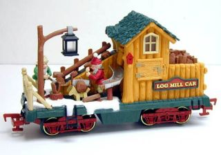 New Bright Holiday Express Log Mill Wood Car —